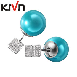 Wholesale Cube Studs - KIVN Fashion Jewelry Cube CZ Cubic Zirconia Stud Double Sided Simulated Pearl Earrings Womens Girls Promotion Birthday Gifts