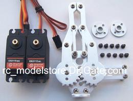 Wholesale Servo 15kg - wholesales DOF Robot Arm Clamp Claw Mount kit + 2x DS3115 Metal gear Digital servo 15kg +2x circle metal holder 25T for Arduino + Freeship