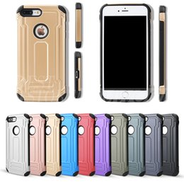 Wholesale Military Shockproof Cases Iphone - Defender Hybrid TPU+PC Armor Case Dual Layered Anti-Shock Hard Cases Shockproof Back Cover Military Protection For Iphone 6 6s 7 Plus 5S
