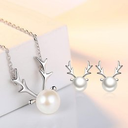 Wholesale Allergic Gold Plated Jewelry - Natural Anti-allergic 925 Sterling Silver Reindeer Antlers Pearl Stud Earrings For Women Christmas Pearl Necklace Fashion Jewelry Gift