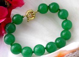 Wholesale 12mm Jade Bead - HOT NATURE ROUND GREEN JADE BEAD BRACELET BANGLE 12MM 7.5''
