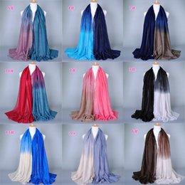 Wholesale Long Summer Scarf - 2015 summer style fashion scarf women hot sale glitter gradual color voile long Scarf shawl muslim hijab