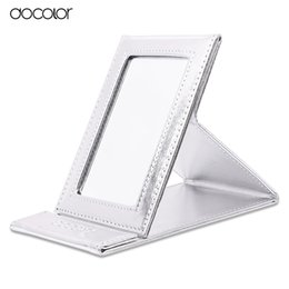 Wholesale Leather Folding Mirror - Wholesale- Docolor Brand Make up Mirror Black and Sliver Folding Cosmetics Makeup Mirror Portable Multi-used mirror with Leather Case