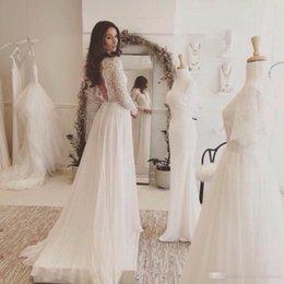 Wholesale Rustic Lace - 2017 Lace and Chiffon Beach Wedding Dress Long Sleeve Rustic Wedding Dress Vestidos de Noivas para Casamento Backless Beach Bridal Dresses