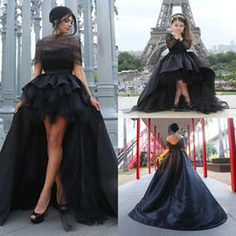 Wholesale Pictures Match - Romantic Black Mother Daughter Gowns High Low Front Short Back Long Matching Evening Party Dresses 2017 Satin Tulle Formal Pageant Dresses