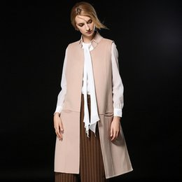 Wholesale Wool Vest Women - fashion women wool vests winter wool coats sleevesless 2018 high quality long winter coats ladies long sleeves outerwear wool coats