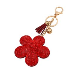 Wholesale Leather Flower Rings - hot sale bag accessories charms key rings Fashion Candy color cute flower tassels glittering rhinestone diamond crystal leather keychain