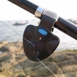 Wholesale Electronic Fishing Bite Alarm - Wholesale- Electronic LED Light Fish Bite Sound-light Alarm Bell Clip On Fishing Rod Black