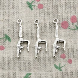 Wholesale Charms Gymnast - 100pcs Charms Antique Silver gymnastics gymnast sporter 30*11mm Pendant Zinc Alloy Pendant DIY Makeing Jewelry Bracelet Necklace Fittings