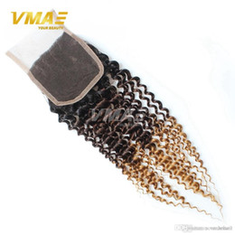 Wholesale Middle Parting Lace Closure Brazillian - Brazillian Kinky Curly Lace Closure 4x4 Free Middle Part Color 1B 4 27# Ombre Human Hair 7a Brazilian Deep Curly 3 tone Top Closure