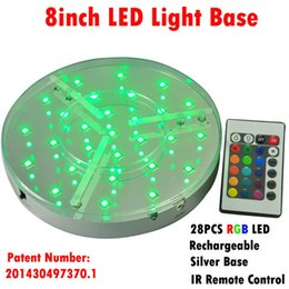 Wholesale Lights Change Colors - 8inch 28pcs SMD5050 LED Centerpieces Light Base with 24keys Remote Contrrller to Choose 16 Static Colors and 4Color-changing Programas