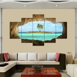 Wholesale Panel Artwork - 5 Pcs Azure Ocean Island Palm Tree Coconut Tree Seascape Home Wall Decor Canvas Picture Art HD Print Painting On Canvas Artworks