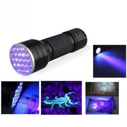 Wholesale Mini Uv Light Bulb Wholesaler - Mini Portable UV Ultra 21 LED Flashlight Violet Purple Blacklight Torch Lamp Light