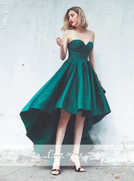 Wholesale Low Back Short Cocktail Dresses - Hot Sale Emerald Green Cocktail Dresses Sweetheart Satin High Low Prom Dress 2017 Cheap Short Party Gowns
