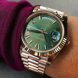 Wholesale Luxury Automatic Stainless Steel - Free shipping luxury mens watch Green face rose gold Stainless steel original strap watch Day-date Automatic movement AAA mens Watches