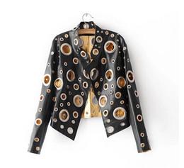 Wholesale black metal jacket - spring Women's leather jacket 2017 new collar collar PU female jacket hollow metal short paragraph motorcycle jacket