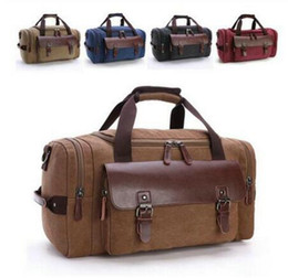 Wholesale Brown Canvas Duffel Bag - Fasion Men Big Capacity Portable Luggage Moving Bags Travel Bag Cotton Canvas Travel Bag Duffel Bags