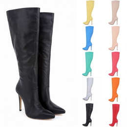 Wholesale Black Wide Calf Leather Boots - Botas Feminina Womens Leather Pointed Toe High Heels Autumn Winter Mid Calf Knee Wide Leg Stretch Boots US Size 4-11 D0041