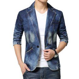 Wholesale Cool Slim Men Blazer - Wholesale- 2017 New Arrival Brand Cool Mens Blazer Jacket Trendy Jeans Suits Single Button Casual Men Slim Fit Denim Suit Jackets 4XL