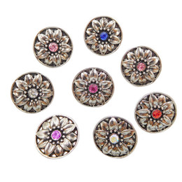 Wholesale Green Rhinestone Button - B060 Noosa Metal flower chunks 12mm mini ginger snap button jewelry newest copper crytal snaps