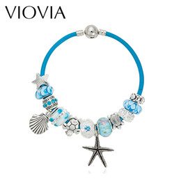 Wholesale Murano Glass Beads Gold - Wholesale- VIOVIA Summer Style Blue Leather Bracelets & Bangles Sea Turtle Star Shell Charm murano glass beads bracelet for women B15180