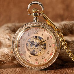 Wholesale Mechanical Wind Up Pocket Watches - Full Gold Luxury Mechanical Pocket & Fob Watches Pendant Retro Fashion Engraving Wind Up Hand Winding Men Women Chain Xmas Gifts