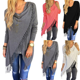 Baumwoll-strickjacke der baumwollwolljacke online-neue Frauen Mantel Asymmetrische Klassische Quaste Slash Womens Jacke Mäntel Langarm Strickjacke Baumwolle Blended Sweater Outwear