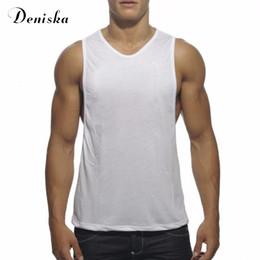 Wholesale Low Cut Vest Men - Wholesale- 2017 New Summer Men's Cotton Pure color Vivid Tank Tops Low Cut Armholes Vest Sexy Muscle Men's Fitness Suit Sporting Tops