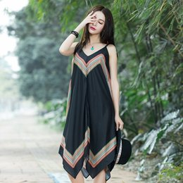 Wholesale Embroidery Slim Plus Size Dress - 2017 Hot Selling Summer Women's Dress embroidery Sleeveless Black Dresses Femme Casual Slim Vintage Spaghetti Strap Women Dress