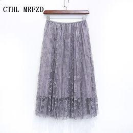 Wholesale Long Skirts Tall - 2017 women skirts bud silk skirts long pleated skirt of tall waist show thin posed the a - line skirt autumn winter skirt
