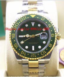 Wholesale Ii Tone - Luxury Watches High Quality II Ceramic 116713 Black Green Two Tone Steel Gold Watch w  Box Automatic Mens Watch Men's Watch Wristwatch