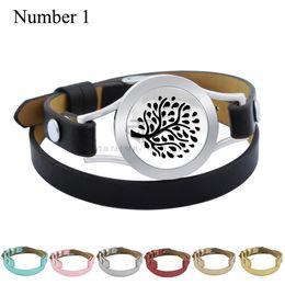 Wholesale Imitation Tree - Magnet Tree 25mm Black Genuine Perfume Locket Leather Stainless Steel Bangle Essential Oils Diffuser Locket Leather Bracelet
