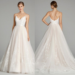 Wholesale Cheap Couture Gowns - Jlm Couture 2017 Country Wedding Dresses Lace Applique Sexy Spaghetti V Neckline Bridal Gowns Plus Size Cheap Wedding Dress