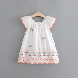 Wholesale Dresses Holidays - Everweekend Sweet Girls Floral Embroidered Cotton Dress White Color Summer Fly Sleeve Princess Holiday Dresses
