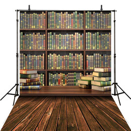Wholesale graduation books - Student Graduation Season Library Books Photography Backdrop Vintage Wooden Floor Bookshelf Bookcase Kids Children Photographic Backgrounds