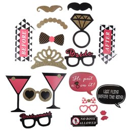 Wholesale Mustache Lips - 20pcs set Bachelorette Party photobooth Photo Booth Props Mustache Glasses DIY Kits Lips Single Hen Party Wedding Women Decor