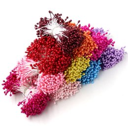 Wholesale Artificial Cake Decoration - 300PCS Artificial Flower Double Heads Stamen Pearlized Craft Cards Cakes&Home Wedding Decoration Floral DIY Wreath Accessories