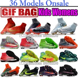 Wholesale Genuine Leather Boots Kids - High Tops Mens Kids Indoor Soccer Shoes Mercurial Superfly V FG AG CR7 Ronaldo Football Boots Youth Magista Obra II Soccer Cleats For Women
