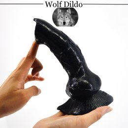 Wholesale Large Soft Dildos - Big Wolf Dog Dildo Realistic Animal Cannie Dick W  Suction Cup Dildos Real Soft Skin Touch Fetish Sex Toy Woman Erotic