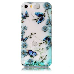 Wholesale Beautiful Shells - Beautiful Ultrathin Case For iPhone 5 Cover Emboss Painting Soft TPU Shockproof Cover iPhone 5SE Case Silicone Phone shell