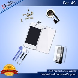 Wholesale 4s Accessories - For iPhone 4S White Full Complete LCD Screen Display Digitizer Assembly with Accessories & Free Shipping