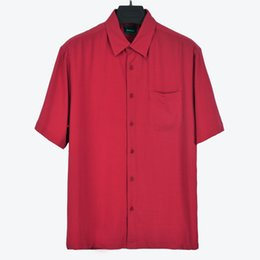 Wholesale Mens Satin Casual Shirts - Wholesale- Summer silk turn-down collar loose big size mens shirt short sleeve Four Colours available
