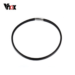 Wholesale 22 Braided Leather - Wholesale- Vnox Fashion Braided Choker Necklace Black Genuine Leather Statement Necklace 18 20 22 Inch Long Necklace Men Women