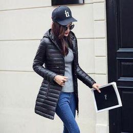 Wholesale Thin Cotton Winter Hat - 2017 New Fashion Winter Women Down cotton Long Coat Hooded Down Jacket Parka