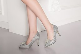 Wholesale Glass Slipper Rhinestone Wedding Shoes - Dress women shoes pointed toes stiletto heel 9.5cm new Office wedding banquet Cocktail party The Glass Slipper