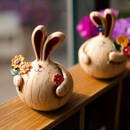 Wholesale Rabbit Ornaments - Animal Rabbit Model Lovers Resin Home Crafts Ornaments Cute Little Resin House Decoration Creative Inexpensive Home Decor Gift