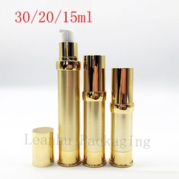 Wholesale cosmetic airless pump gold - 5ml 10ml 15ml 20ml 30ml Gold Silver Empty Airless Pump Container Travel Metal Essential Lotion Cream Cosmetic Bottle With Pump