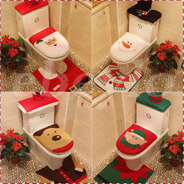 Wholesale Cheap Cartoon Rugs - 4 Styles Cheap 2016 Merry Christmas Decoration Santa Elk Elf Toilet Seat Cover Rug Hotel Bathroom Set Best Xmas Decorations Gifts Free DHL