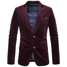 Wholesale Dark Grey Male Casual Suit - Plus Size Winter Warm Men Slim Blazer High Quality Corduroy Casual Wild Blazers For Male Long Sleeve Solid Shiny Suit Men Blazer T170704