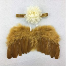 Wholesale Christmas Holiday Photo - New Infant Newborn Baby Kids Angel Fairy Feather Wing Costume Photo Prop for Children\'s Day Gift Present Party Supplies